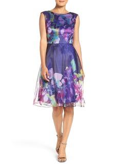 Tahari Print Organza Fit & Flare Dress