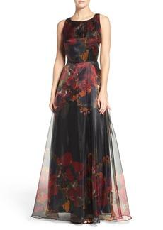 Tahari Print Organza Gown