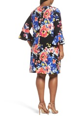 Tahari Print Ruffle Sleeve Shift Dress (Plus Size)