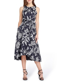 Tahari Print Sateen Midi Dress