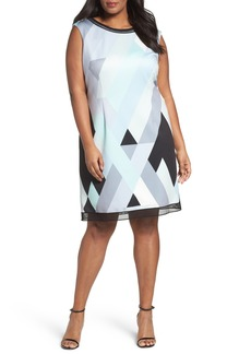 Tahari Print Scuba Sheath Dress (Plus Size)