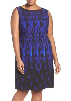Tahari Print Sleeveless Scuba Knit Sheath Dress (Plus Size)