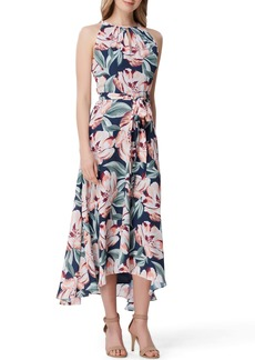 Tahari Print Sleeveless Tie Waist Maxi Dress