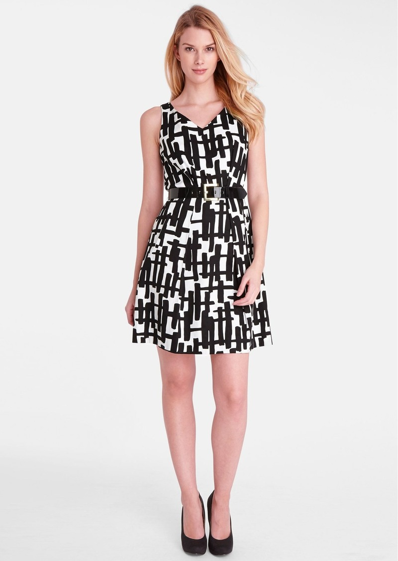 Tahari Print Stretch Cotton Fit & Flare Dress (Petite)