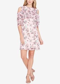 Tahari Printed Cold-Shoulder Ruffle Dress