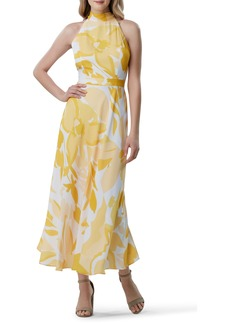Tahari Printed Halter Maxi Dress