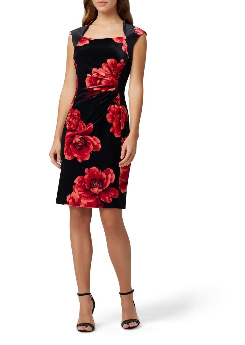 Tahari Printed Velvet Sheath Dress