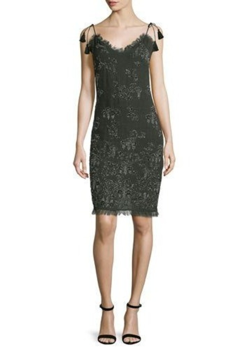 Tahari Remsen Metallic-Embroidered Dress