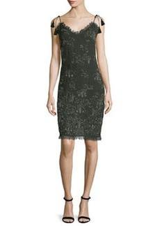Tahari Remsen Metallic-Embroidered Dress