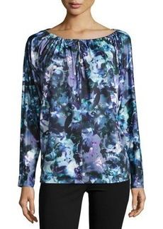 Tahari ASL Rosalie Watercolor Print Top