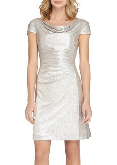 Tahari Ruched Foil Knit Sheath Dress