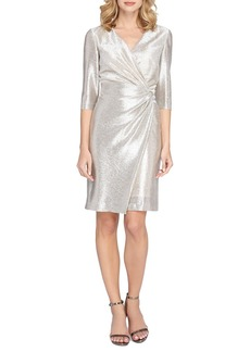 Tahari Ruched Metallic Knit Sheath Dress (Regular & Petite)
