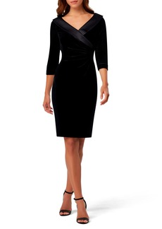 Tahari Ruched Portrait Collar Velvet Sheath Dress