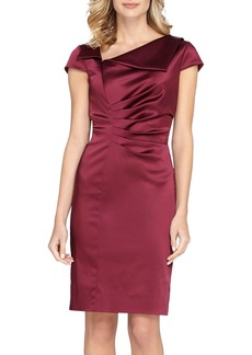 Tahari Ruched Satin Sheath Dress (Regular & Petite)