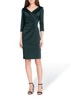Tahari Ruched Stretch Satin Sheath Dress