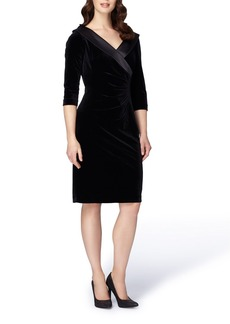 Tahari Ruched Velvet Sheath Dress (Regular & Petite)