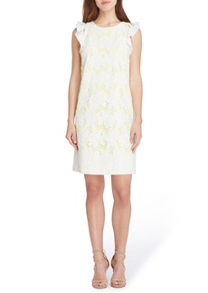 Tahari Ruffle Cap Sleeve Lace Dress (Regular & Petite)