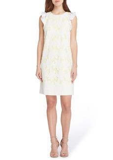 Tahari Ruffle Cap Sleeve Lace Dress (Regular & Petite)
