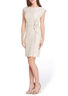 Tahari Ruffle Lace Sheath Dress
