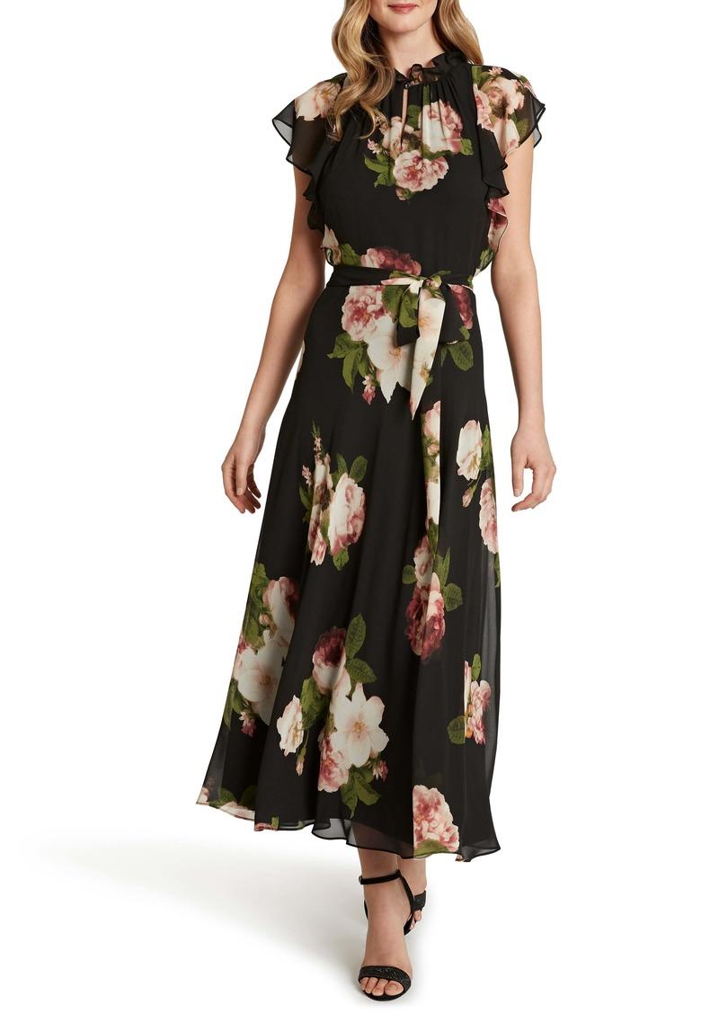 Tahari Ruffle Sleeve Printed Chiffon Maxi Dress
