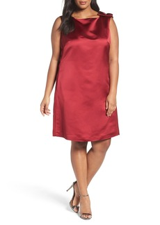 Tahari Satin Shift Dress (Plus Size)