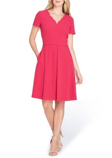 Tahari Scallop Neck A-Line Dress (Regular & Petite)