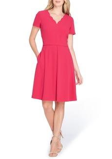 Tahari Scallop Neck A-Line Dress (Regular & Petite)
