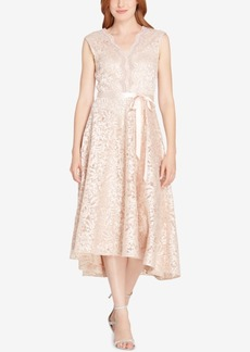 Tahari Scalloped Embroidered Lace Dress