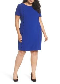 Tahari Scalloped Trim Shift Dress (Plus Size)