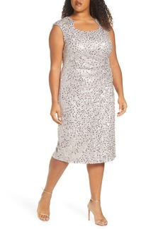 Tahari Sequin & Beaded Cocktail Dress (Plus Size)