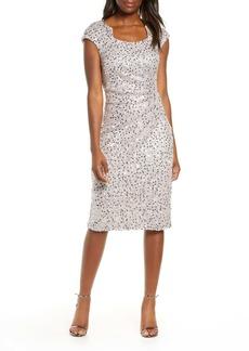 Tahari Sequin & Beaded Sheath Dress