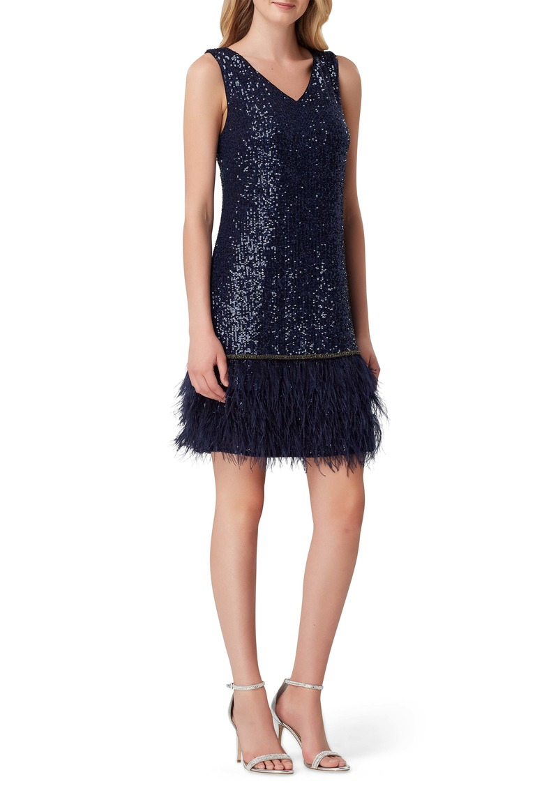 Tahari Sequin & Feather Shift Dress