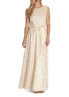 Tahari Sequin Appliqué Woven Gown