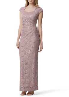 Tahari Sequin Embellished Evening Gown