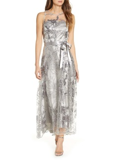 Tahari Sequin Embroidered High/Low Gown