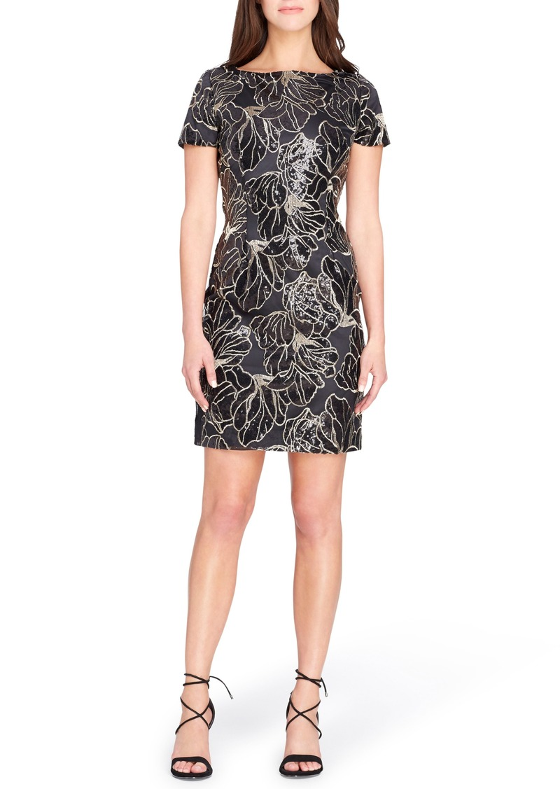 Tahari Sequin Floral Sheath Dress
