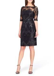 Tahari Sequin Illusion Sheath Dress
