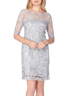 Tahari Sequin Illusion Sheath Dress (Regular & Petite)