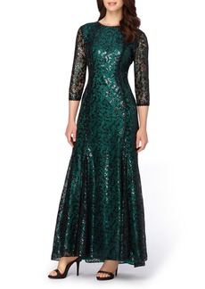 Tahari Sequin Lace Mermaid Gown