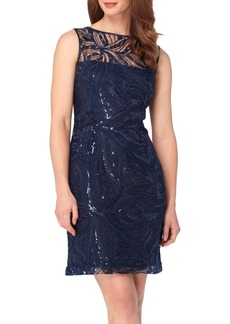 Tahari Sequin Lace Sheath Dress
