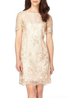 Tahari Sequin Lace Shift Dress (Regular & Petite)