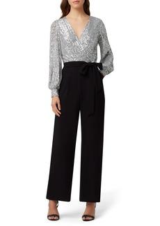 Tahari Sequin Long Sleeve Jumpsuit
