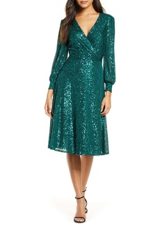 Tahari Sequin Long Sleeve Knit Dress