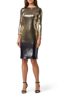 Tahari Sequin Mesh Cocktail Dress