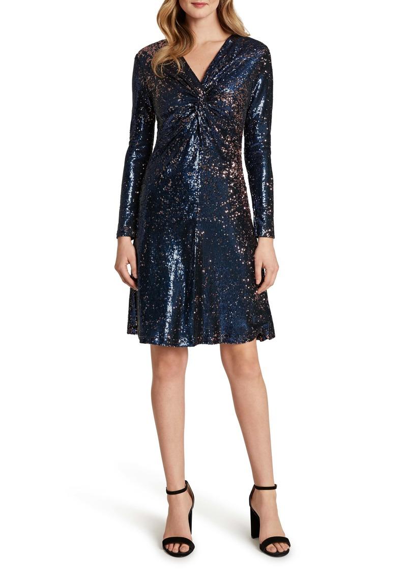 Tahari Sequin Mesh Long Sleeve Cocktail Dress
