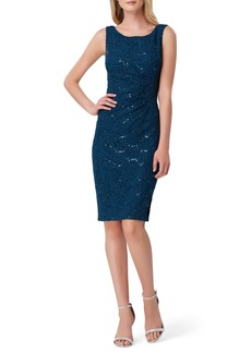 Tahari Sequin Stretch Lace Sheath Dress