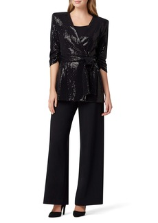 Tahari Sequin Tie Front Smoking Jacket