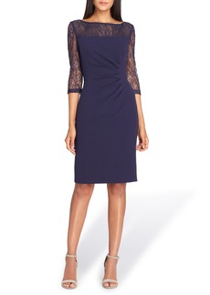 Tahari Sheer Illusion Lace Sheath Dress (Regular & Petite)