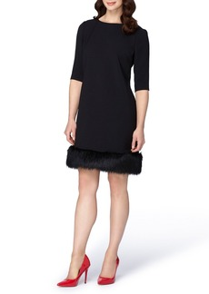 Tahari Shift Dress with Faux Fur Trim