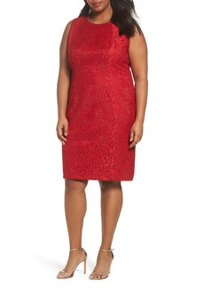 Tahari Shimmer Lace Sheath Dress (Plus Size)
